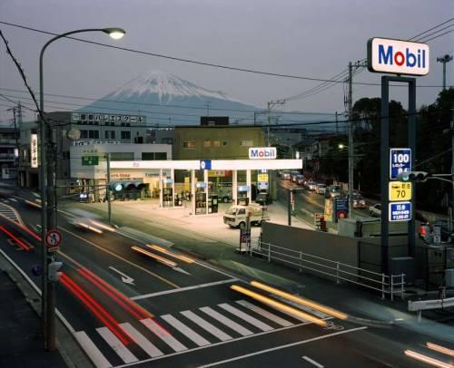 JAPAN. Fuji City. Mobil filling station from footbridge. 1999.